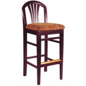 Wood Fan Back Bar Stool